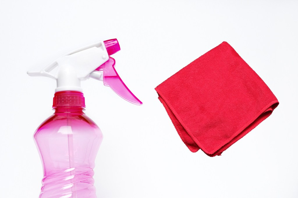 cloth and sprey bottle of solution