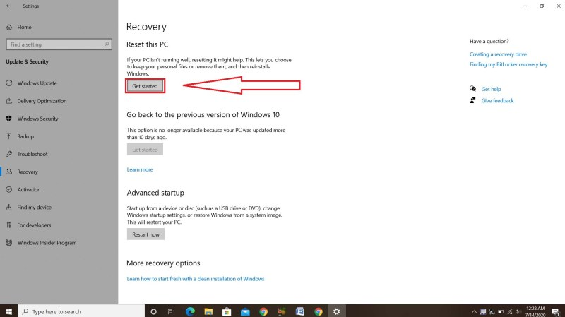Settings>Update & Security>Recovery