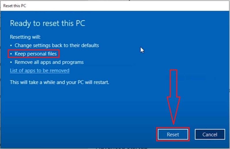 Settings>Update & Security>Recovery>Reset this PC>Keep my files