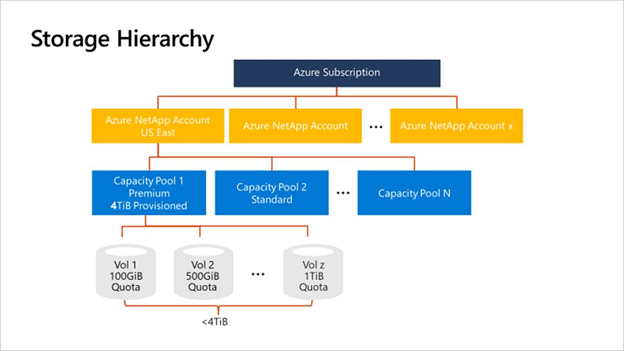 Azure NetApp Files Storage Hierarchy