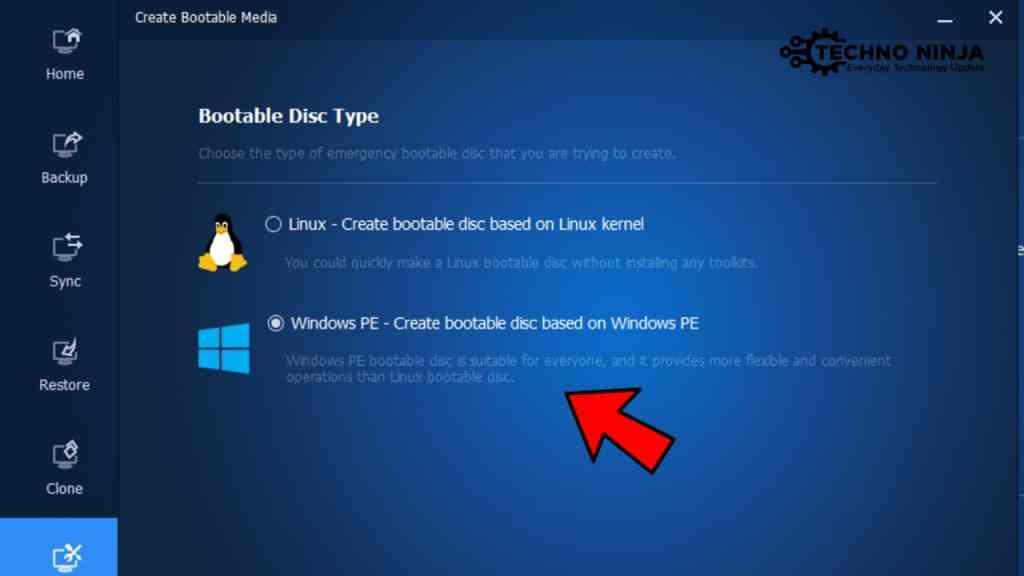 Choose Windows PE Option
