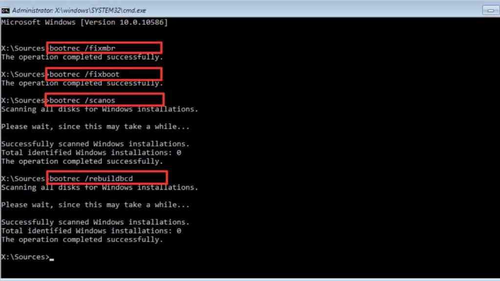 Run BootRec Commands