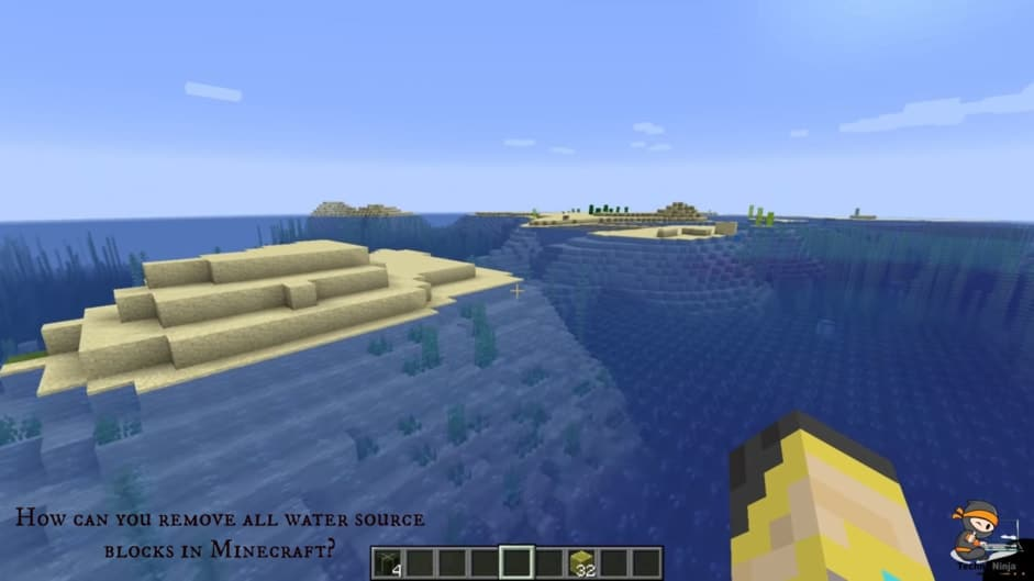 How can you remove all water source blocks in Minecraft?