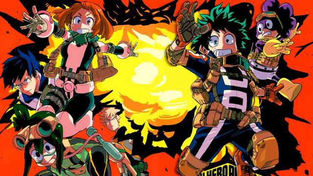 My Hero Academia characters jumping in front of an explosion.