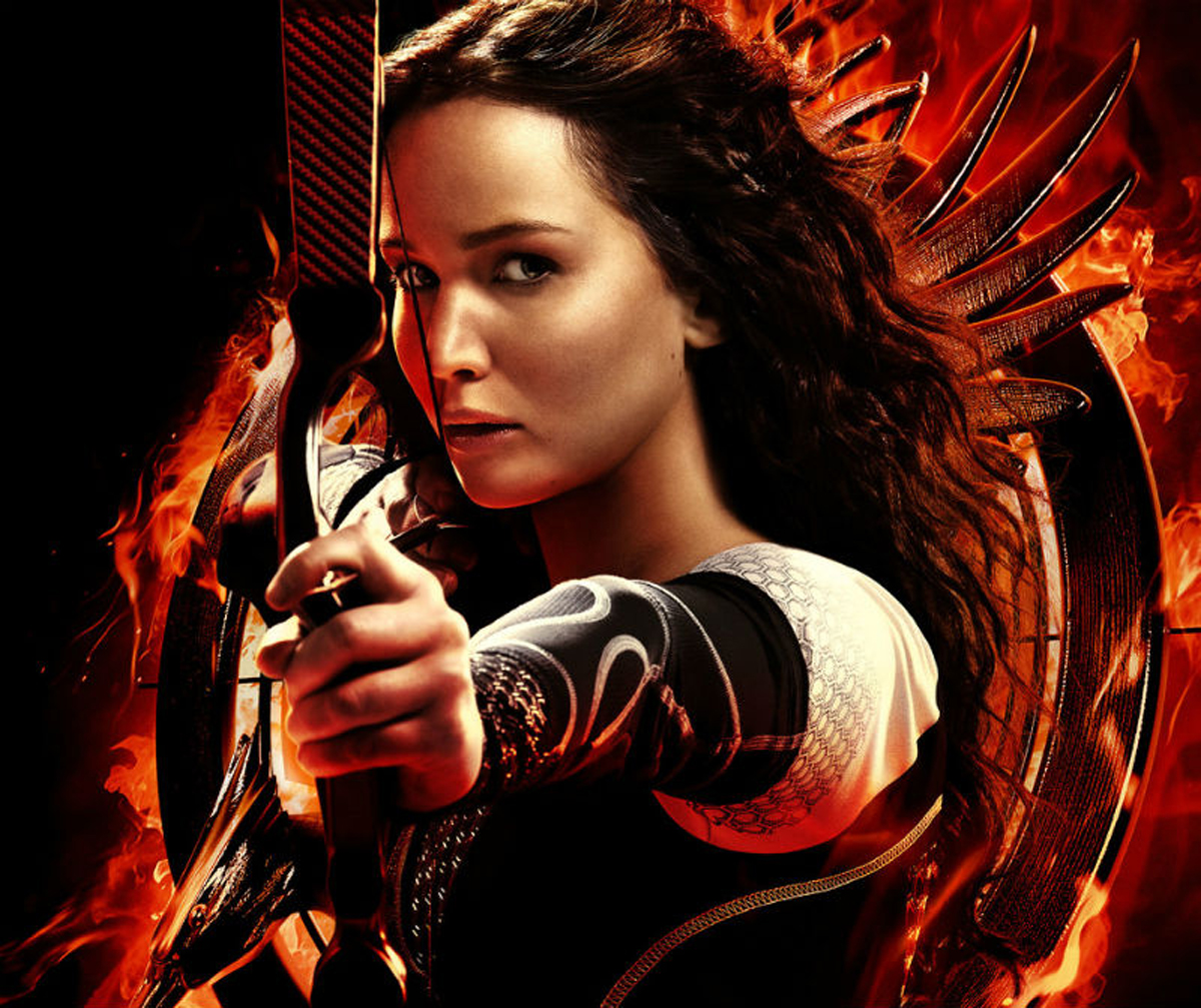 Jennifer Lawrence as Katniss Everdeen in Hunger Games movie poster