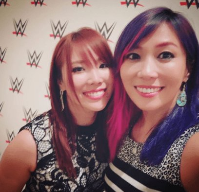 Kairi Sane and Asuka taking a wefie together at a WWE event. via official Instagram (@KairiSane_WWE)