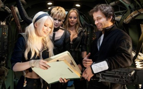 Zack Snyder with the cast of Sucker Punch during filming via heroichollywood.com