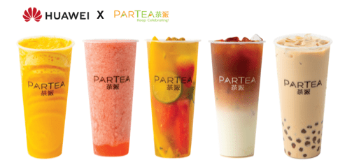 Huawei partners up with Singaporean premium fruit tea brand Partea in an exclusive giveaway with 30 types of beverages. via Huawei Press Release