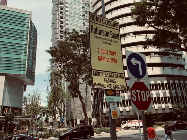 Road closure sign for HBO Westworld filming at Robinson Road, Singapore. via Teng Yong Ping (Yahoo Lifestyle Singapore)