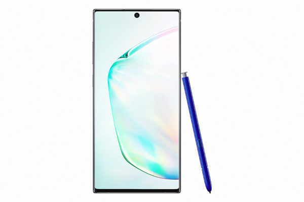 Samsung Galaxy Note10+ in Aura Glow and S Pen in blue Courtesy of Samsung