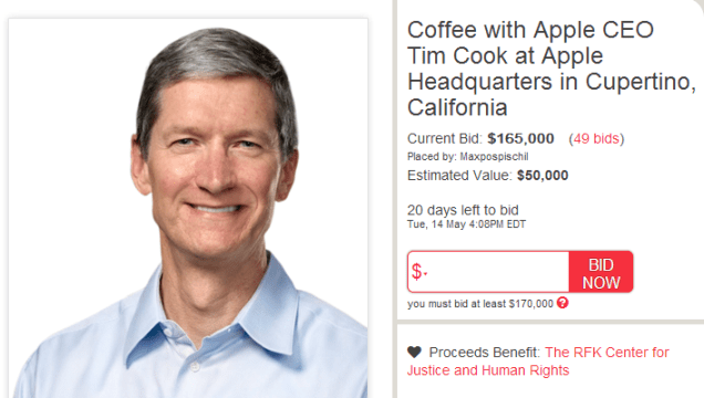 Tim Cook Coffee Auction