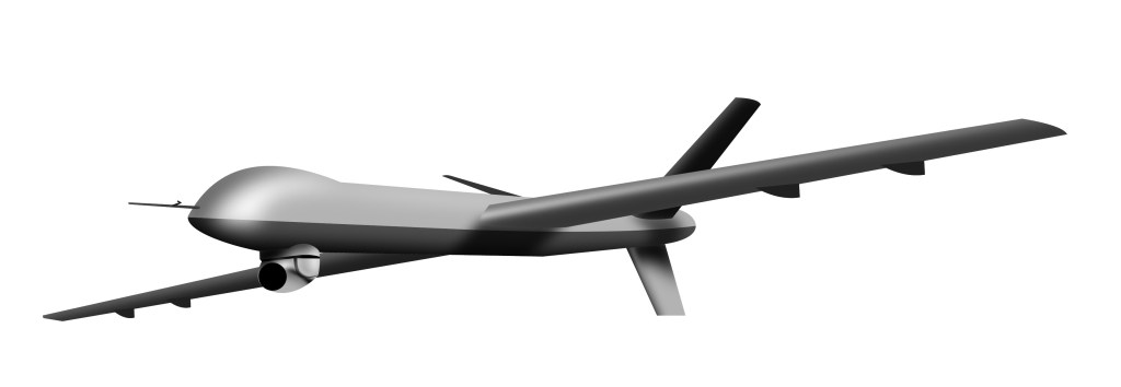 Illustration of remote controlled drone aircraft in full flight on isolated white background.