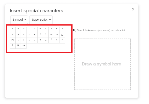 superscript in google docs