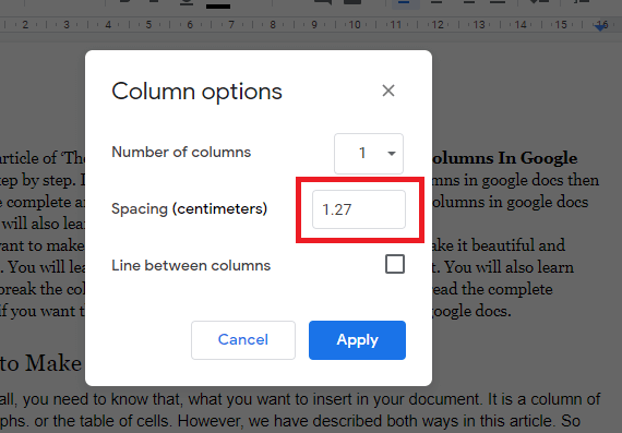 increase the space between the columns