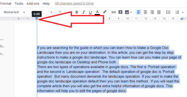 left indent in the google docs