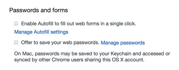 Chrome Autofill Preferences