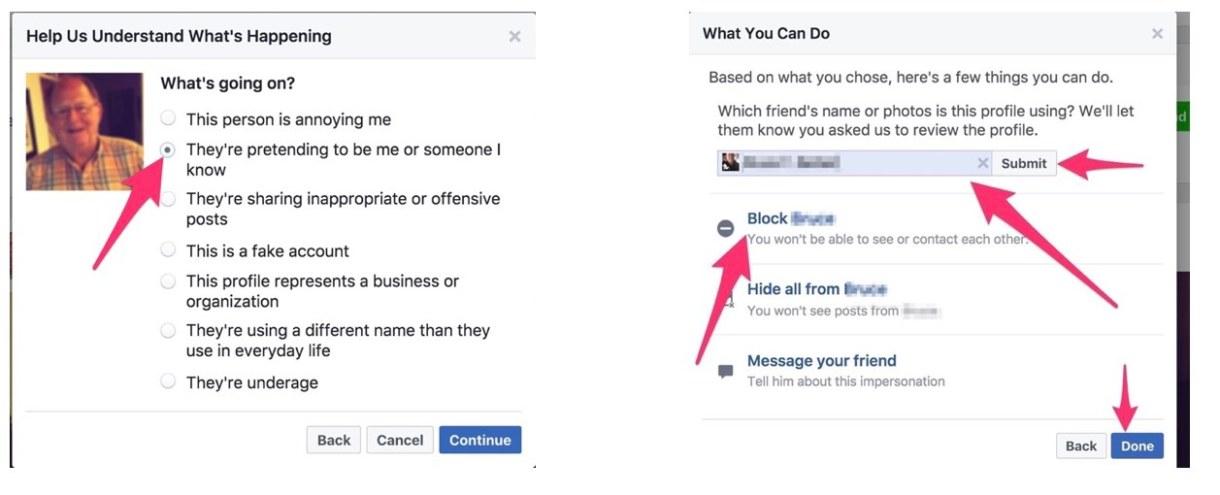 Reporting Facebook Cloning