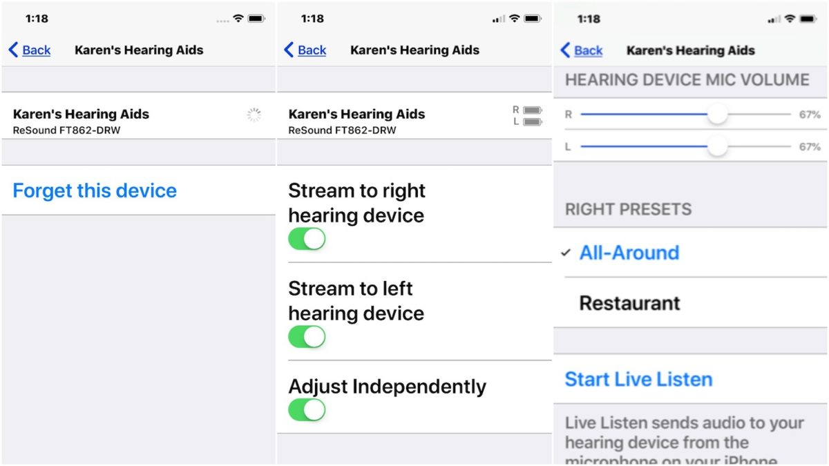 Hearing Aid Syncing - iPhone