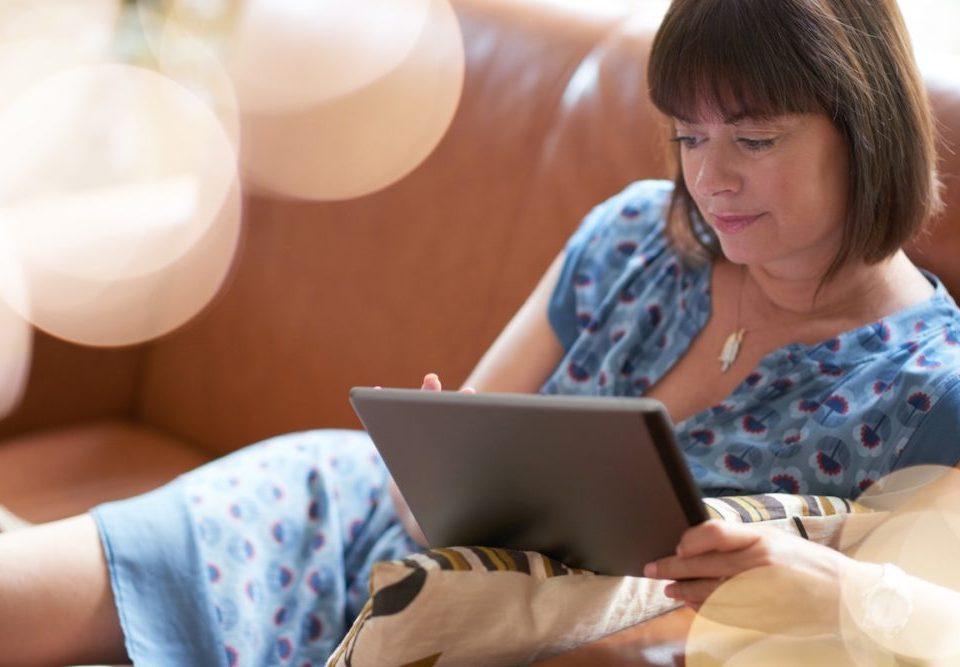 Woman on iPad - Journaling App