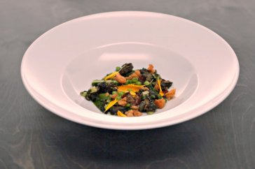 Carl's Fricassee of California vegetables, burgundy snails and egg
