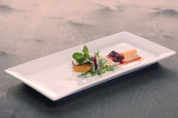 Jason's Poached trout with toasted beets, spring vegetable salad and goat milk vinaigrette