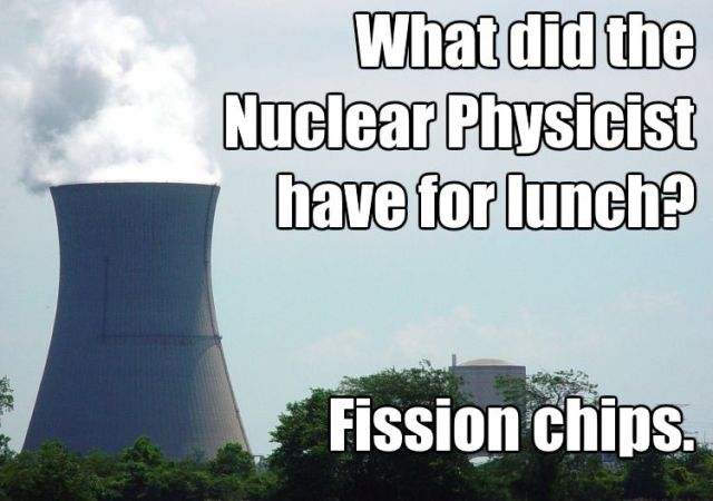 nuclear physicist has fission chips for lunch