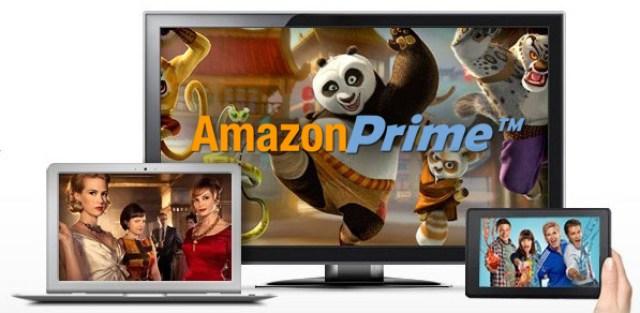 TV laptop and phone with Amazon Prime on them
