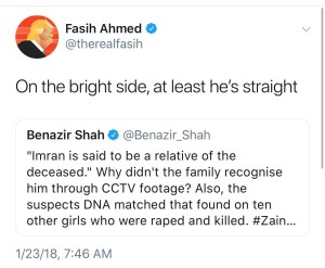 """Screenshot of Fasih Ahmed's tweet saying """"On the bright side, at least he's straight"""""""