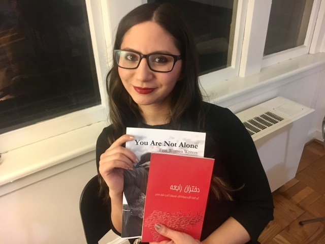 Noorjahan Akbar with the English edition of her book, You Are Not Alone ans the Persian edition of Daughters of Rabia, which will soon be out in English.