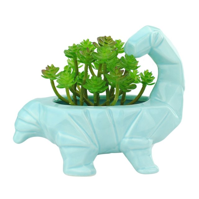 Image description: A pale blue dinosaur planter with a long neck that looks back on the plants in its holder.