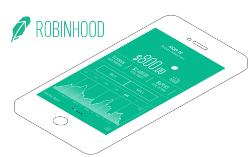 """Green Feather next to """"RobinHood"""" words above a smartphone outline with a green screen"""
