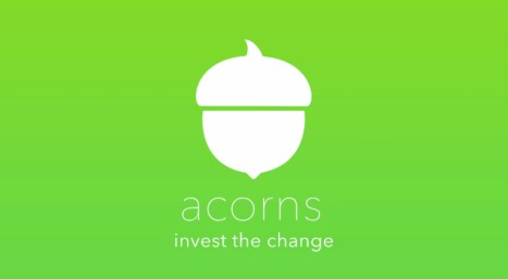 """White acorn outline on a green background with words """"invest the change"""" underneath"""