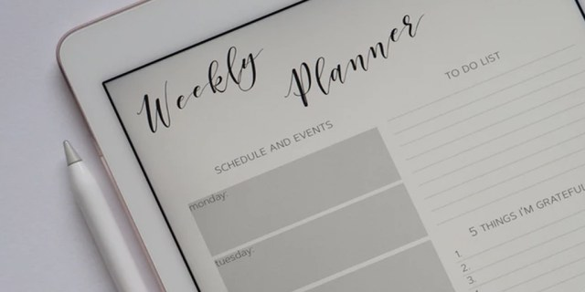 A picture of a weekly planner on an iPad.