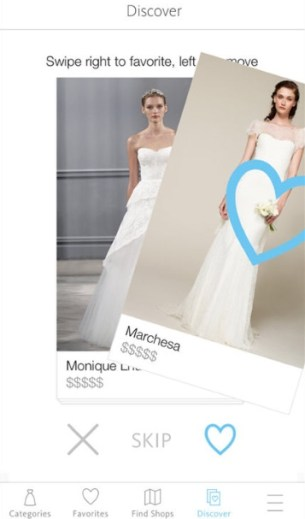 [image description: screenshot from the Lookbook app showing one wedding dress image being swiped away and another image popping up behind it]
