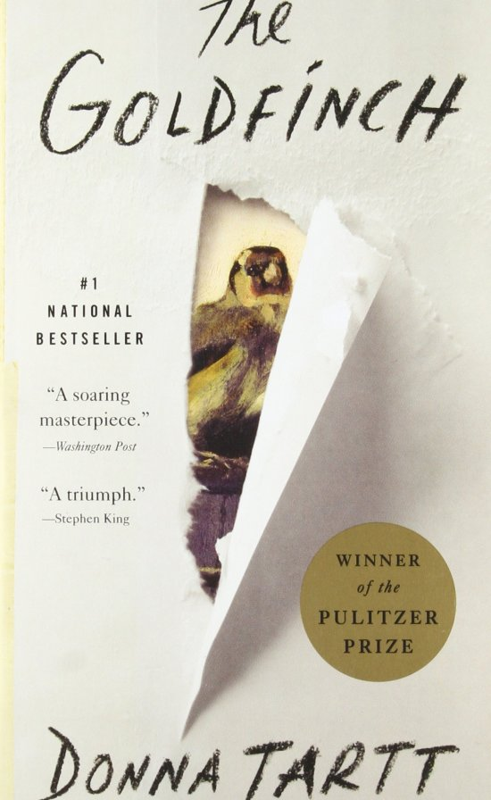 [Image description: Cover of The Goldfinch which is offwhite and has the illusion of being torn in the middle to reveal a painting of a goldfinch.]