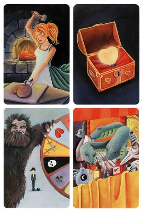 Four cards from the game Dixit. The top left one depicts an angry woman hammering a metal heart in front of a furnace and the top right one shows a lit lightbulb heart laid out in a red silk-lined box. The bottom left cards show an abominable snowman monster spinning a wheel with various symbols on it, while a man stands in the background, wearing a suit and a black hat with a ball and chain attached to his ankle. The bottom right one shows a three-headed snake with arms, wearing a robe and holding a potion bottle. In front of it is a table covered with a yellow tablecloth and various bottle