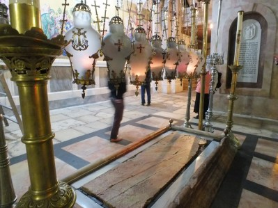 The slab of 'unction' where Jesus was laid out before burial