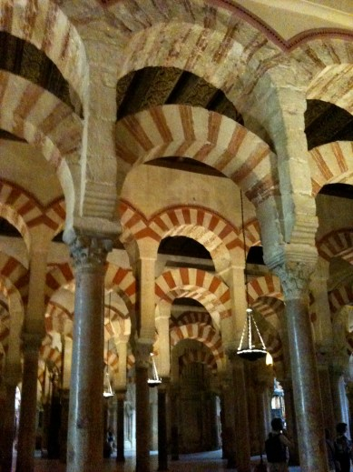 A sea of arches inside the Great Mosque of Cordoba - converted later to a cathedral