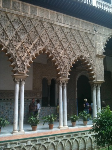 The Alcazar in Seville - remodelled by Christian rulers who used Moorish builders