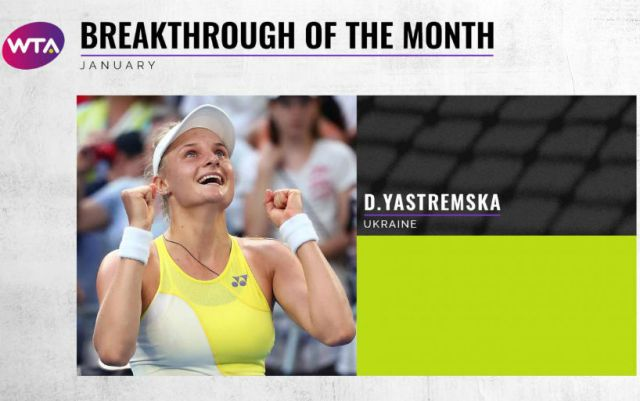 "Dayana Yastremska became the winner in the nomination ""October Breakthrough"" according to the WTA version"