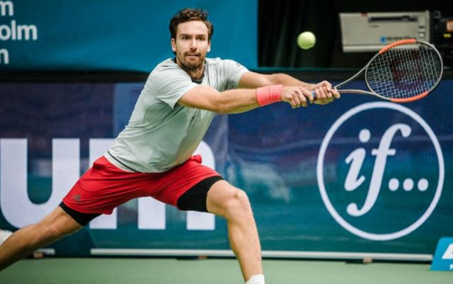 Montpellier. Ernests Gulbis advanced to the second round