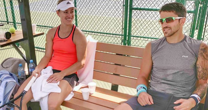 Angelique Kerber practiced with Janko Tipsarevic in Monterrey