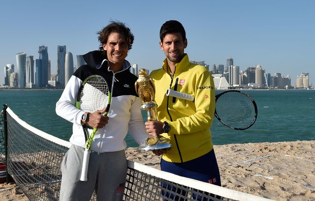 Novak and Rafa on the beach