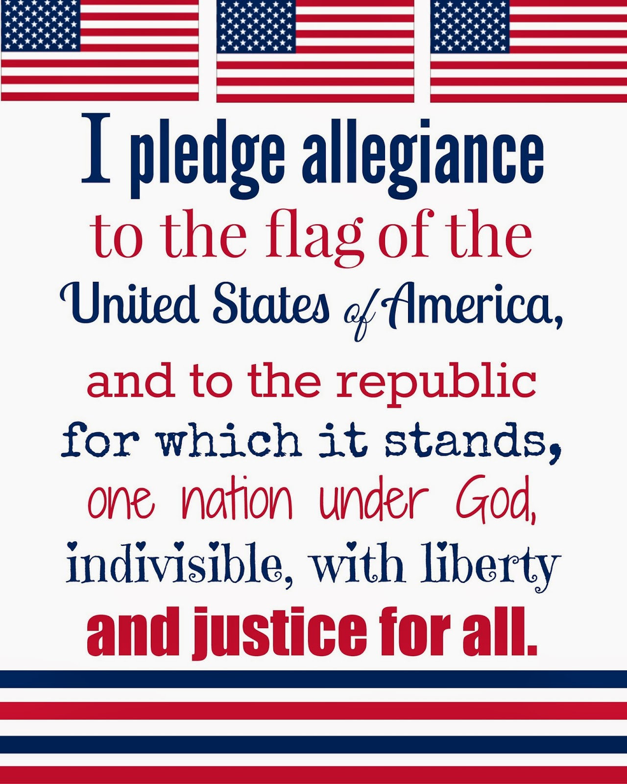 Free 4th Of July Printable Of The Pledge Of Allegiance