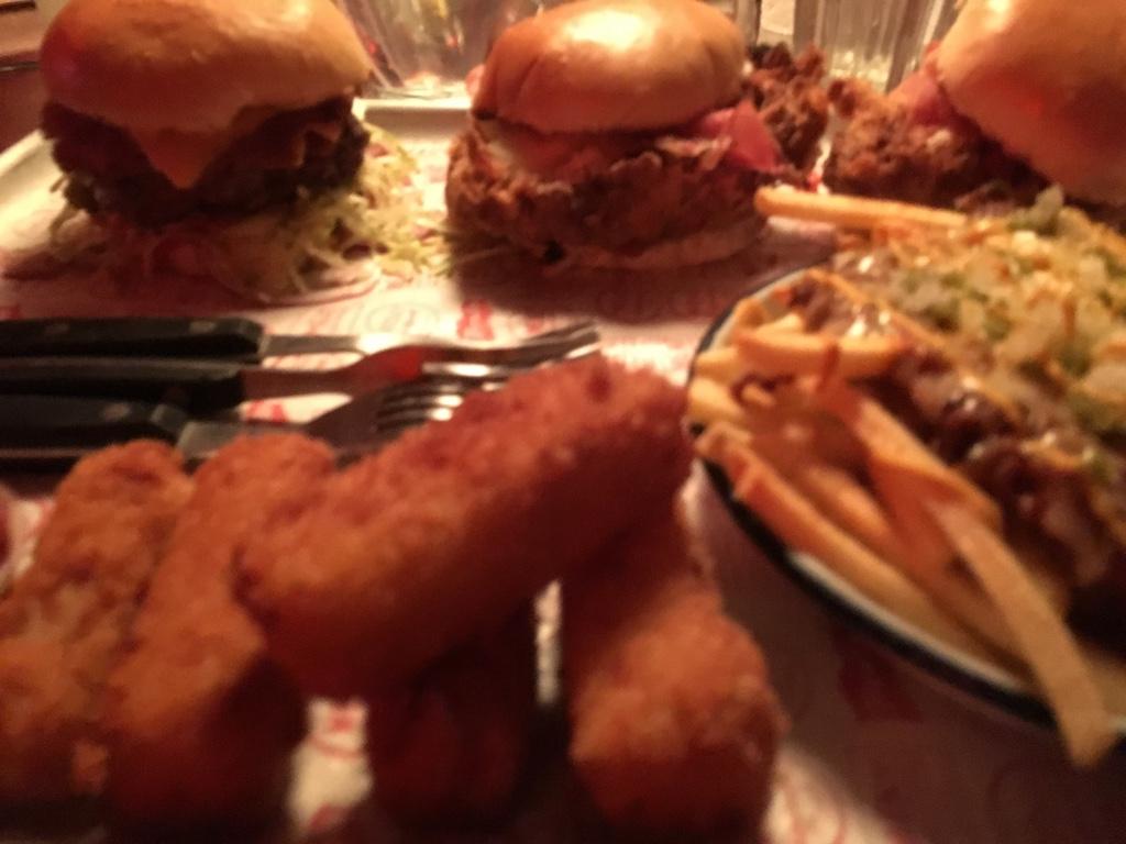 Deep fried mac and cheese, chili cheese fries, bacon cheeseburger and chicken parma burger.