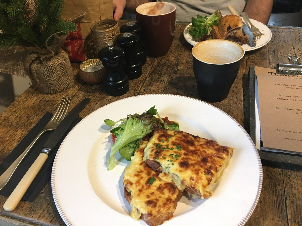 Welsh rarebit and wild boar sausage roll