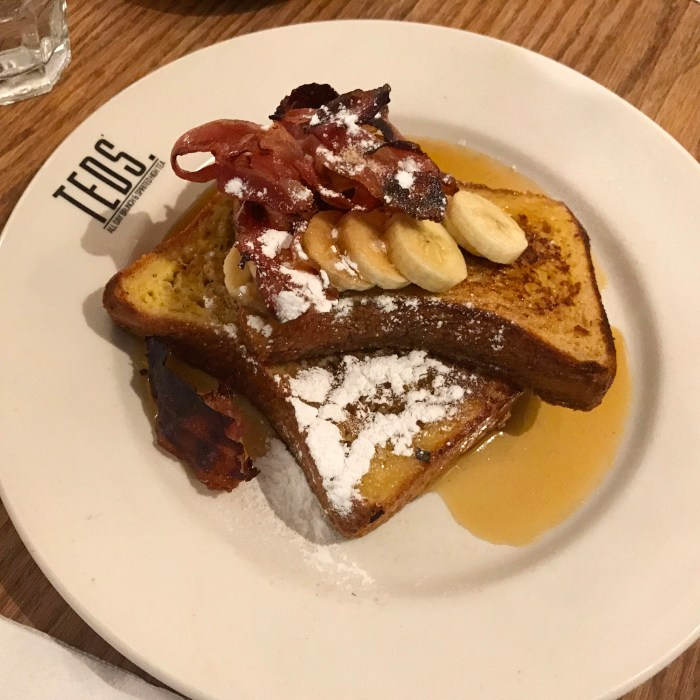 Banana french toast with added bacon
