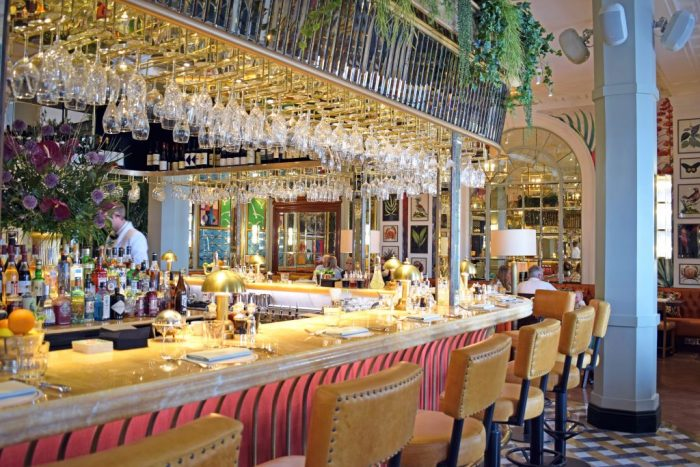 The glistening bar is the centrepiece of the restaurant