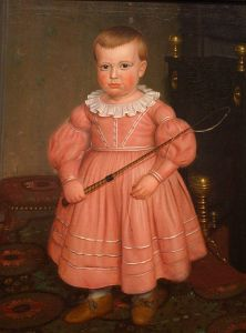 ''Young Boy with Whip'', American School painting, ca. 1840