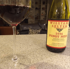 A stealthy cat stalks only the finest wines, like a 2006 Williams Selyem Pinot Noir